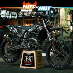 "Hot or not? The ""Hell Raiser"" a full custom Yamaha yz125 2016 made by @jeskemxcustoms . Amazing photo by @blutes77 . #hotornotmx #dirtbike #motocross #yamaha #yamahamx #yz125 #yz250 #dirtbikes #mxlife #fmx"