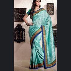 Marvelous Aqua Blue Embroidered Saree