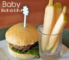 Baby burgers with veggies inside the patty.  Patty is baked in a muffin tin to get the small size (clever!) and served on a dinner roll (or homemade bun if you've got the time!)