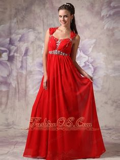Perfect Red Empire / Princess Evening Dress Straps  Chiffon Beading Floor-length  http://www.fashionos.com Chiffon is the favourite of fashional prom dress! This chiffon prom dress features sassily with wide straps beaded with sparsely crystals and also beads on bodice, the skirt flows straightly down from the high waistline where a waistband decorated with beading tells it from the bodice. The crossed back and the ribbon make it graceful and romantic.
