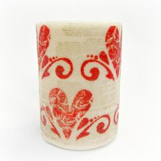 Dollar Store Crafts » Blog Archive » Tutorial: Stamped Valentine's Day Candle
