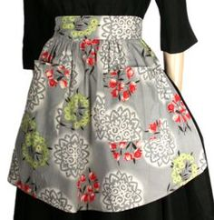 vintage-mom made hundreds of these half aprons, nice and full, pockets, longer in the front.