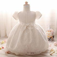 Baby girl white wedding dress princesa infantil vestidos de festa menina 1 anos de roupas de aniversário da criança recém-nascidos lace batizado vestidos