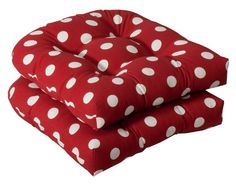 (CLICK IMAGE TWICE FOR UPDATED PRICING AND INFO) #home #cushions #homeimprovement #outdoor #patio #chair #chaircushions #replacamentcushion #patiochaircushion  see more chair cushions at http://zpatiofurniture.com/category/patio-furniture-categories/patio-chair-cushions/ -  Pack of 2 Outdoor Patio Wicker Chair Seat Cushions – Red and White Polka Dot « zPatioFurniture.com