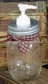 Soap or Lotion Dispenser Jar with Old Fashioned Galvanized Lid