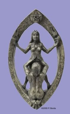 'Drawing Down the Moon' plaque by Paul Borda. The image is based on the Rite of Drawing Down the Moon in which divinity of the woman is acknowledged, invoked, and honored. In Wiccan circles, the Goddess energy flows through the Priestess as she embodies the Goddess within.