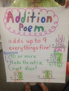 """Addition poem for regrouping- I will change """"extra"""" to bring them next door"""