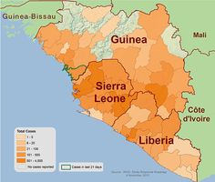 In 2014, there was an Ebola Outbreak in West Africa, which slowly spread along the west coast. The darker the color orange meant that the more cases were reported in the region. As of November 1, 2015 the only reported cases were in Guinea, which had 22 cases total. Slowly declining.