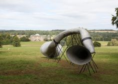 'The Hear Heres' - Listen to nature through one of four horns that are dotted along a walk through the grounds of Kedleston Hall, a stately home in Derbyshire, England; by Studio Weave Home Theater Setup, Best Home Theater, Home Theater Speakers, Home Theater Seating, Studio Weave, Media Room Design, Audio Installation, Eco Architecture, Trumpets