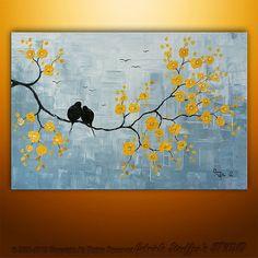 CUSTOM PAINTING Original Palette Knife Modern Birds Blossom Asian Original Painting Art by Gabriela 24x36. $189.00, via Etsy.