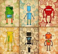 robot nursery art - The Robot Six - Nursery art prints, baby nursery, nursery decor, nursery wall art, kids art. $35.00, via Etsy.