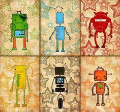 robot nursery art - The Robot Six - Nursery art prints, baby nursery, nursery decor, nursery wall art, kids art. $35.00, via Etsy.