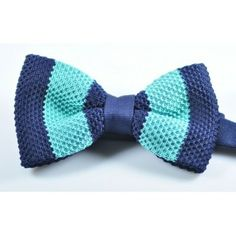 Navy Aqua Blue Striped Knitted Bow Tie - Pre Tied