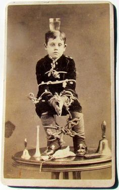 Unidentified boy at the Slipshod Home for Feeble Minded Children. This was one of the Sisters' means of testing endurance.