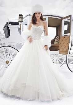 Tulle ballgown with beaded bodice and sweetheart neckline | Sophia Tolli Y21506…
