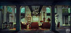 environment Interior - main room  cinema set- Codice Privato by Silva Giovanni