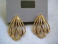 "AVON Gold Tone Clip Earrings "" GILDED MESH "" Open Metalwork Vintage NEW IN BOX #Avon #ClipOn"