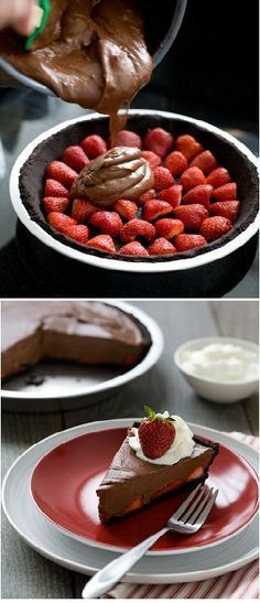 Torta de Chocolate com morangos. Impossível resistir. Confira os ingredientes: http://www.loveandoliveoil.com/2012/04/chocolate-strawberry-oasis-pie.html #morango #torta #chocolate #guiato #ofertas