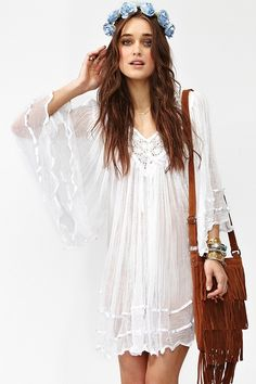crochet dress, love the bag, too.