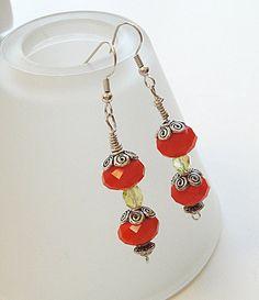 Earrings Tangerine Tango/ Orange Velvet Crystal by BijiBijoux, $21.00
