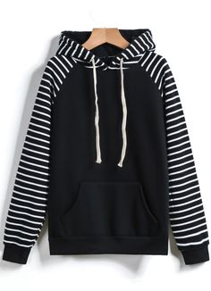 Black Hooded Long Sleeve Pockets Striped Sweatshirt - abaday.com