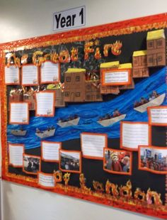 Great Fire of London classroom display (Year … Primary Classroom Displays, Year 2 Classroom, Classroom Display Boards, Ks1 Classroom, Display Boards For School, Teaching Displays, Class Displays, History Classroom, Classroom Teacher