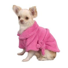 Casual Canine 8-Inch Polyester Cozy Dog Bathrobe, XX-Small, Pink