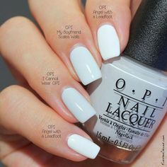 OPI I Cannoli Wear OPI (Venice Fall vs OPI My Boyfriend Scales Walls vs OPI Angel with a Leadfoot I love white polish for the summer Opi Gel Nails, Opi Nail Polish Colors, Opi Colors, Opi Gel Polish, Neutral Nail Polish, Fall Nail Polish, Pastel Nail Polish, Nagellack Trends, White Nails
