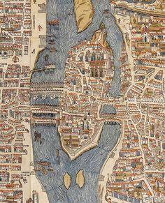 """ceeturnalia: """"renaissance-art: """"Île de la Cité, Paris c. 1550 """" detail from Plan de Truschet et Hoyau by Olivier Truschet and Germaine Hoyau. the full-size map is amazing. Paris Map, Old Paris, Vintage Maps, Antique Maps, Paris Au Moyen Age, Merian, French History, I Love Paris, City Maps"""