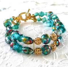 Two Strand Teal Bracelet by marilyn1545 on Etsy, $25.00