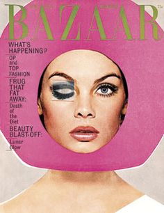 """Vintage Harper's Bazaar Cover April 1965 Richard Avedon ...""""OP and Top Fashions"""" """"Frug That Fat Away"""" """"Beauty Blast-off"""" and """"Lunar Glow"""""""