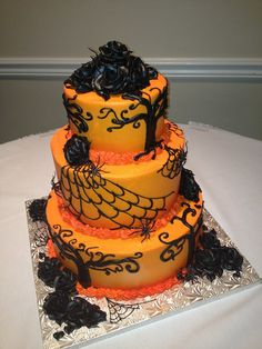 Halloween orange wedding cake Keywords: #weddings #jevelweddingplanning Follow Us: www.jevelweddingplanning.com  www.facebook.com/jevelweddingplanning/