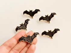 Bat Pin // Soft Enamel Pin // Black + Gold Pin // Lapel Pin // Cute Pin // Halloween Pin // Stocking Filler // Stocking Stuffer by DarwinDesignsCards on Etsy https://www.etsy.com/au/listing/482433417/bat-pin-soft-enamel-pin-black-gold-pin