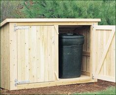 """Trash & Recycling Enclosure - All cedar construction utilizing ship-lapped board siding with Devonshire heavy duty, hot dipped galvanized 12"""" strap hinges. 52 1/2"""" H at door, 44"""" rear H, 84"""" W, 34 1/2"""" D. Modular construction with floor fully enclosed. Shipped kit. Motor freight."""