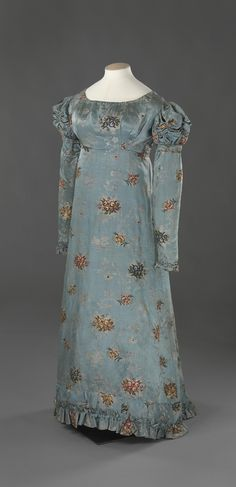 4.Dress: ca. 1820-1825, ca. 1700's (fabric), Norwegian, patterned silk satin lined with linen.