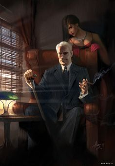 Crime boss with his assistant, possibly a vampire hiding in the shadows, urban fantasy character inspiration Call Of Cthulhu, Dark Anime, Character Portraits, Character Art, Pen & Paper, Vampire Masquerade, Mafia Gangster, World Of Darkness, Sci Fi Characters
