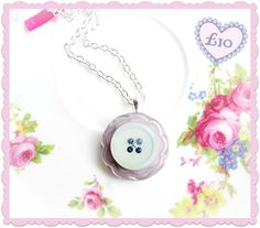 Silver button pendant necklace. £10 and under gift.