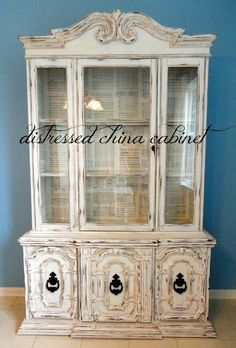 DIY Distressed China Cabinet I want to do this for my kitchen cabinets but probably not as distressed as this