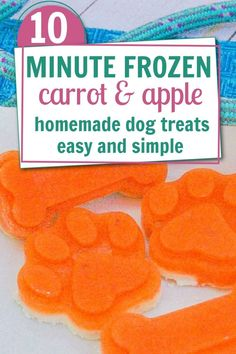 Easy and simple homemade frozen carrot and apple dog treats. Easy Dog Treat Recipes, Homemade Dog Treats, Dog Food Recipes, Doggie Treats, Food Dog, Make Dog Food, Frozen Dog Treats, Can Dogs Eat, Dog Cookies