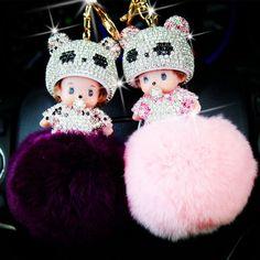 Free shipping Cute Monchichi doll Key chain Rhinestone pompon Rabbit Fur Ball Pom Pom Keychain Women Bag car Pendant wholesale