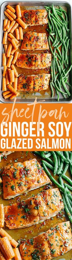 This Sheet Pan Ginger Soy Glazed Salmon makes the perfect weeknight dinner that's quick, healthy and easily made all on one pan! @alaskaseafood #AskforAlaska #IC #ad