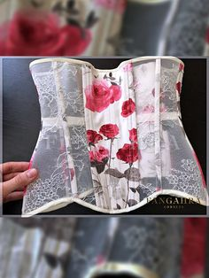 High overbust mesh corset with a bit high back. The corset is fully (including tape under lacing) decorated by the finest beige French Chantilly lace. Due to the special mesh in the basis which has a medium degree of hardness the effect of a lace on a naked body is created. Due to the special-designed structure – strapless – the corset raises and supports the bust very well. Waist reduction: 10-15 cm.
