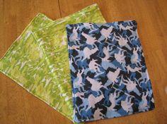 Set of 3 Baby Boy Burp Cloths, Blue Camouflage Snowboarding Man & Green Camouflage