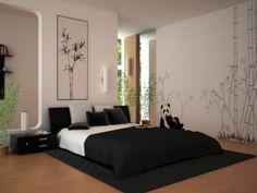 decoracion para dormitorio con oso panda y bambú