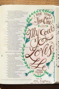 Song of Solomon 3:4, July 7, 2015 carol@belleauway.com, anniversary, watercolor brush marker, bible art journaling, journaling bible, illustrated faith