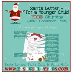 🎅🎄A letter from Santa for a younger child. http://www.ezsantaletters.com/products/Santa_Letter_For_a_Younger_Child-28-1.html #santaletter #letterfromsanta