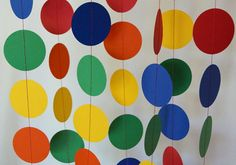 Children's Birthday Party Decoration, Circle Paper Garland, Primary Colors, 10 ft.
