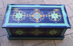 Hand Painted Solid Wood Trunk/Chest. Size 32 x by SunSoulCreations