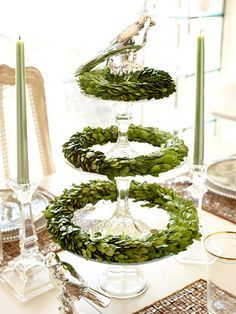 Crystal Christmas Topiary : For a fresh holiday centerpiece, build a tiered tree with crystal candlesticks and plates or graduated cake pedestals. Use a mix of antique and new finds, or purchase clear pieces that match. To make the arrangement dazzle, add rings of boxwood and a mercury-glass bird. so pretty!!