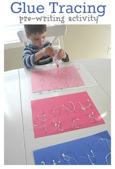 letter tracing with glue - would be fun with glitter glue, write with bottle then smear glue With finger or q tip to trace a second time